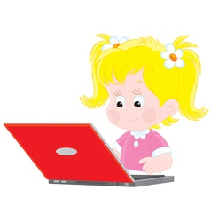 Girl with a laptop vector