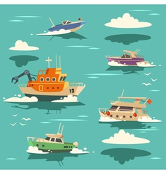 Marine background with ships vector