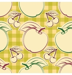 Apples and cherry vector image