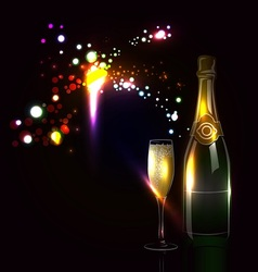 Background with fireworks and champagne vector image