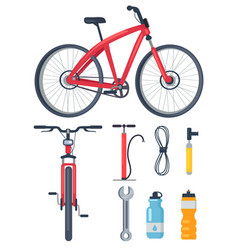 bicycle side and front view metal wrench icons set vector image