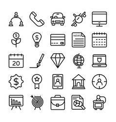 Business and office line icons 10 vector
