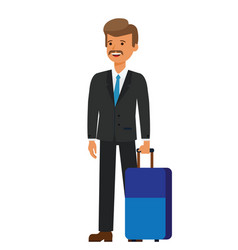 business travel businessman with luggage cartoon vector image vector image