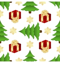 Christmas pattern with gifts and spruces vector image