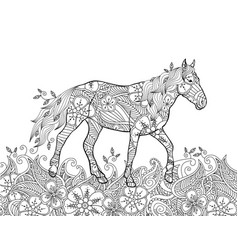 coloring page in zentangle inspired doodle style vector image vector image