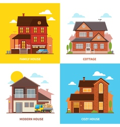Cottage house 2x2 design concept vector