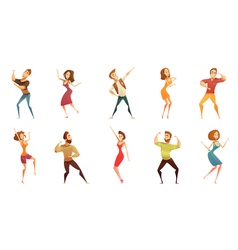 Dancing people funny cartoon icons set vector