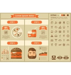 Fast food flat design Infographic Template vector image