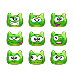 funny cartoon green jelly monster vector image