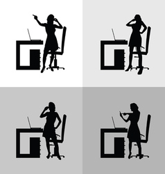 girl set in office silhouette vector image vector image