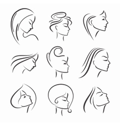 Girls portrait - silhouette icon vector image
