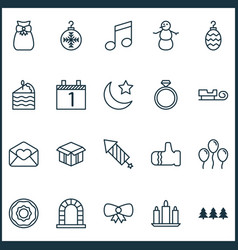 Holiday icons set with air ball butterfly knot vector