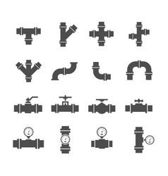 icon set pipe parts vector image vector image