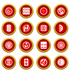 Japan food icon red circle set vector