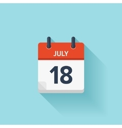July 18 flat daily calendar icon Date vector image