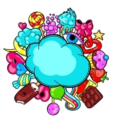 Kawaii card with sweets and candies Crazy sweet vector image vector image