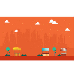 Landscape of street stall with urban town vector