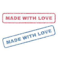 Made with love textile stamps vector
