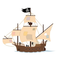 Pirate ship on white vector