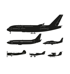 Set of black silhouettes of aircraft vector image vector image