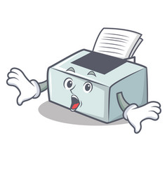 Surprised printer mascot cartoon style vector