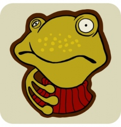 vector cartoon of winter frog vector image vector image