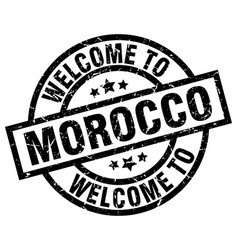 Welcome to morocco black stamp vector
