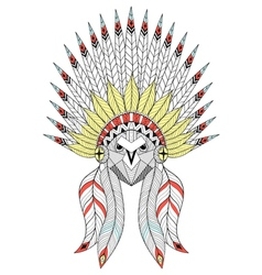 Zentangle owl with war bonnet american native vector