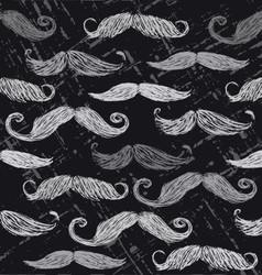 Retro mustache seamless pattern vector image