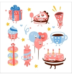 Child birthday party sweets and attributes vector