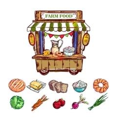 Farm food outdoor shop composition vector