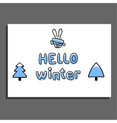 Hello winter greeting card with cute hare vector
