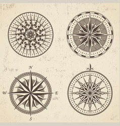 Set of vintage antique wind rose nautical compass vector