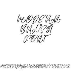 Hand drawn dry brush font elegant modern brush vector