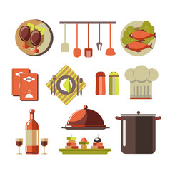 Restaurant kitchen elements colorful set isolated vector