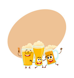Three funny smiling beer glass and mug characters vector