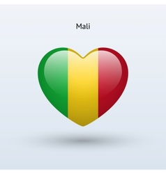 Love mali symbol heart flag icon vector