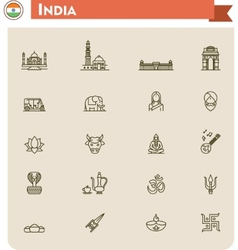 India travel icon set vector
