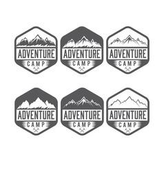 set of vintage labels adventure camp vector image