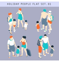 Tourist people 3d flat isometric set 01 vector