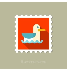 Seagull flat stamp with long shadow vector