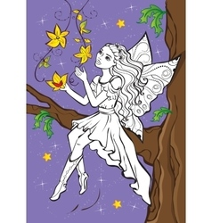 Coloring book of fairy elf sitting on branch vector