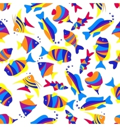 Seamless colorful exotic fishes pattern vector