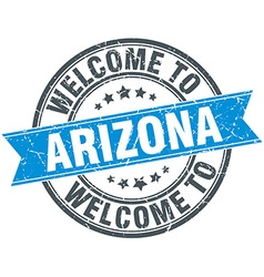 Welcome to arizona blue round vintage stamp vector