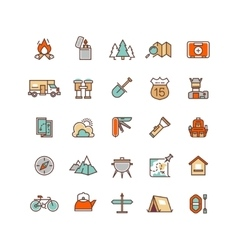 Camping and hiking flat icons for vector