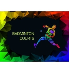 Sports poster with abstract badminton player vector