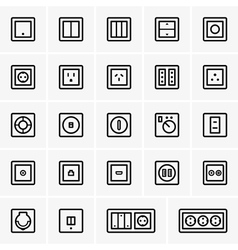 AC power sockets and switches vector image