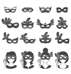Ball carnival monochrome icons vector
