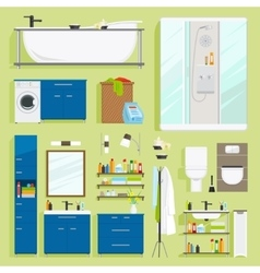 Bathroom equipment icons vector image vector image