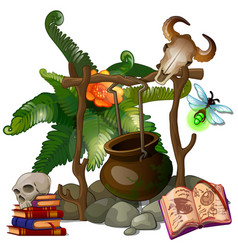 Camp witch or sorcerer with pot and ritual items vector